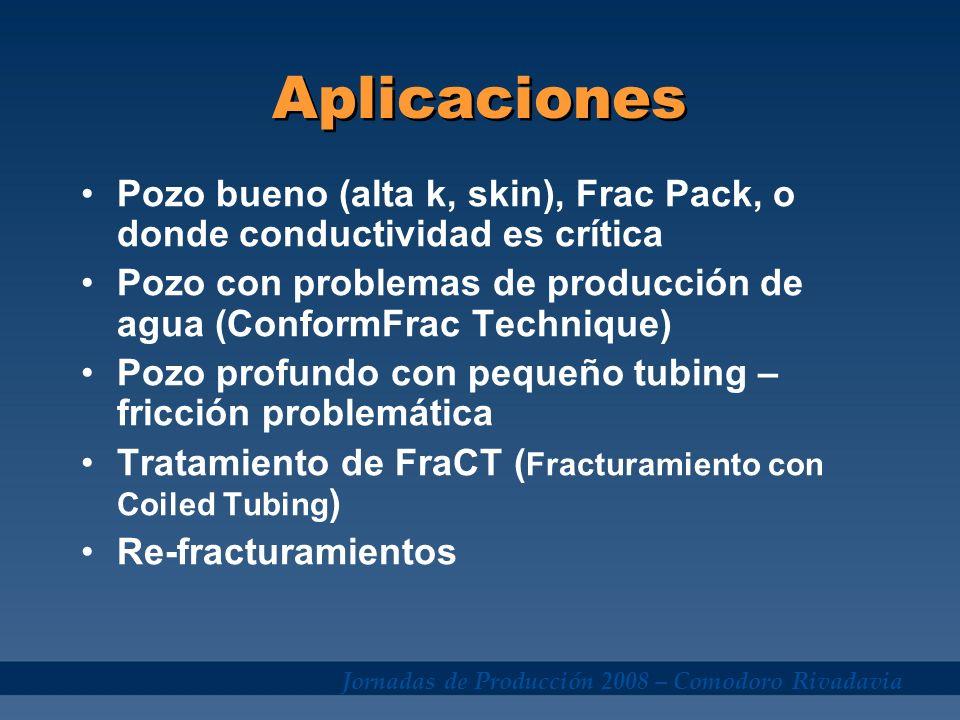 Aplicaciones Pozo bueno (alta k, skin), Frac Pack, o donde conductividad es crítica.