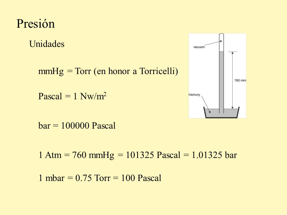 Presión Unidades mmHg = Torr (en honor a Torricelli) Pascal = 1 Nw/m2
