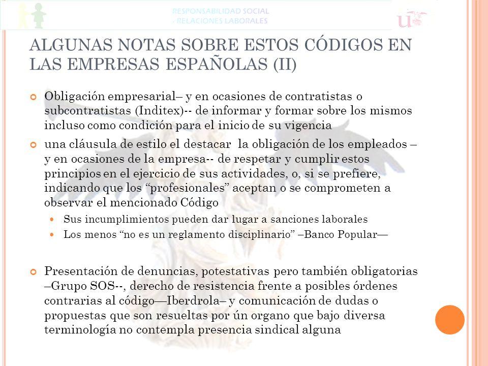 ALGUNAS NOTAS SOBRE ESTOS CÓDIGOS EN LAS EMPRESAS ESPAÑOLAS (II)