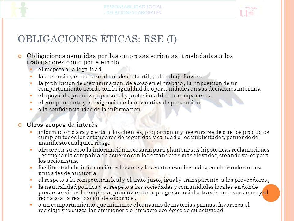 OBLIGACIONES ÉTICAS: RSE (I)