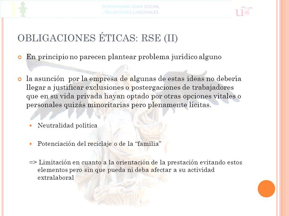 OBLIGACIONES ÉTICAS: RSE (II)
