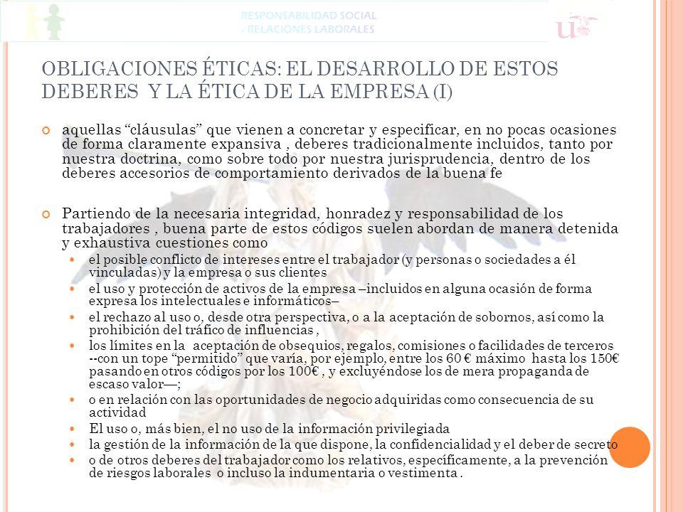 OBLIGACIONES ÉTICAS: EL DESARROLLO DE ESTOS DEBERES Y LA ÉTICA DE LA EMPRESA (I)