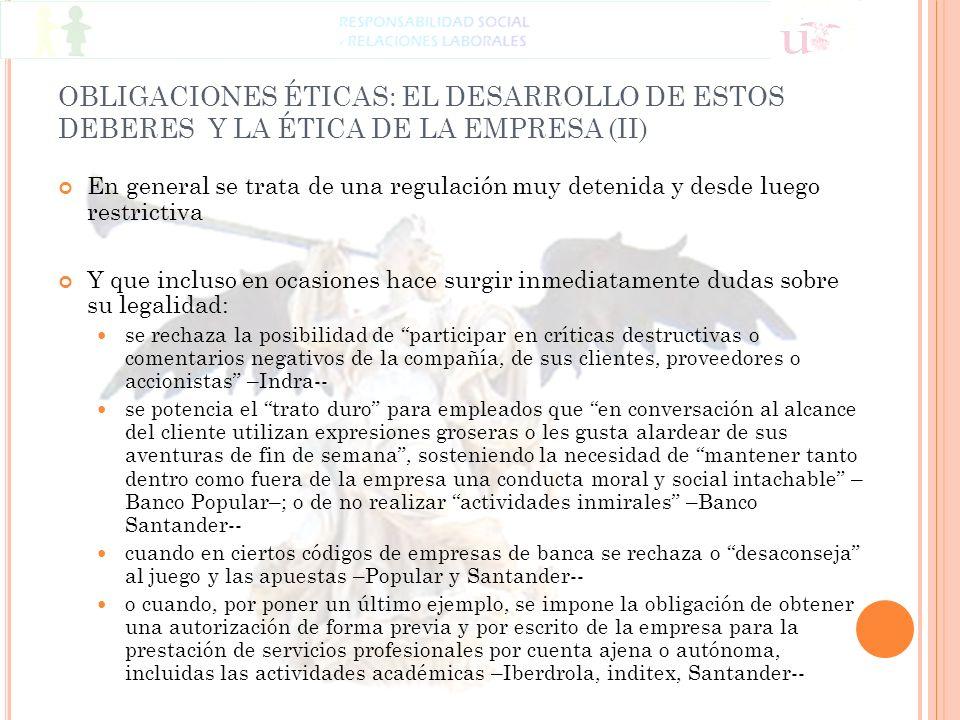 OBLIGACIONES ÉTICAS: EL DESARROLLO DE ESTOS DEBERES Y LA ÉTICA DE LA EMPRESA (II)