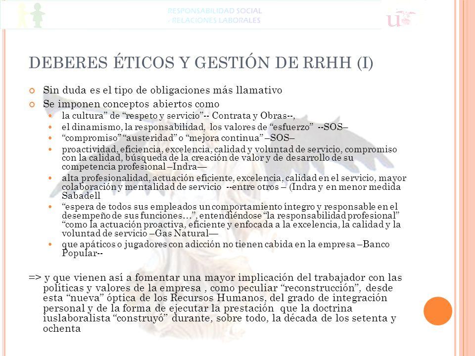 DEBERES ÉTICOS Y GESTIÓN DE RRHH (I)