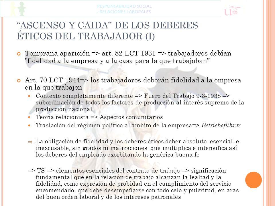 ASCENSO Y CAIDA DE LOS DEBERES ÉTICOS DEL TRABAJADOR (I)