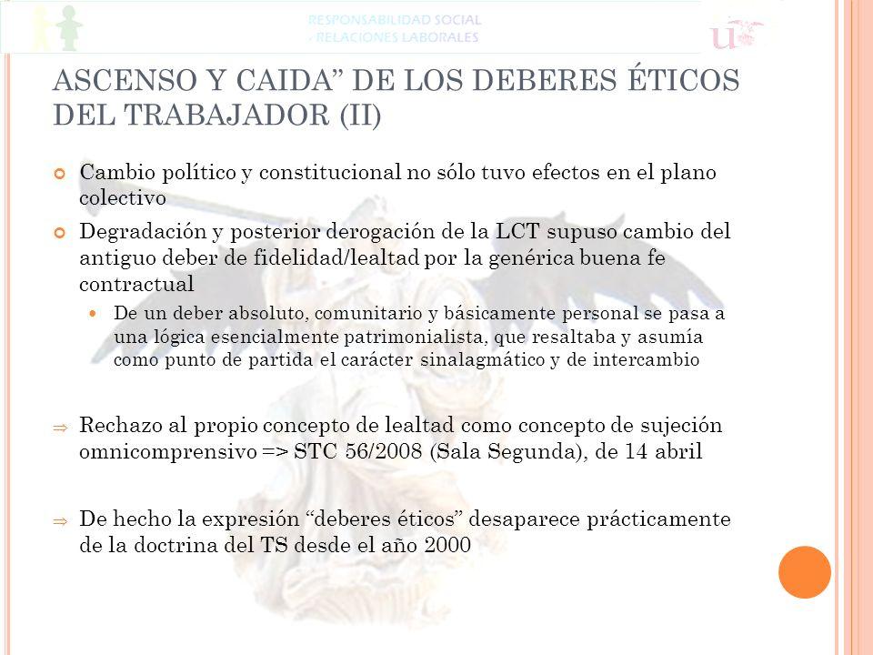 ASCENSO Y CAIDA DE LOS DEBERES ÉTICOS DEL TRABAJADOR (II)