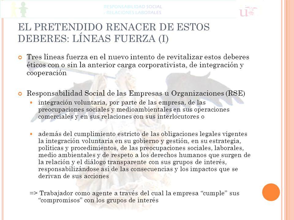 EL PRETENDIDO RENACER DE ESTOS DEBERES: LÍNEAS FUERZA (I)