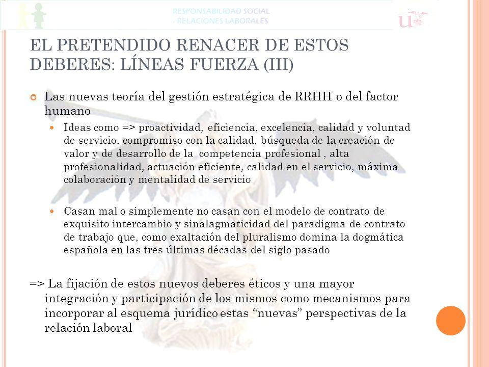EL PRETENDIDO RENACER DE ESTOS DEBERES: LÍNEAS FUERZA (III)