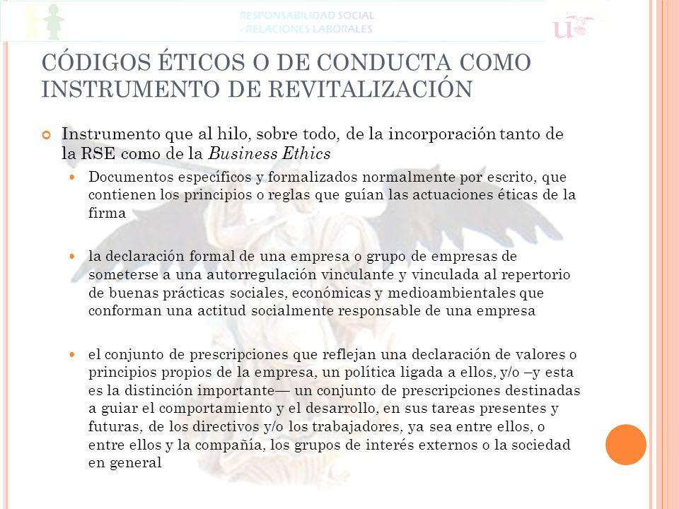 CÓDIGOS ÉTICOS O DE CONDUCTA COMO INSTRUMENTO DE REVITALIZACIÓN