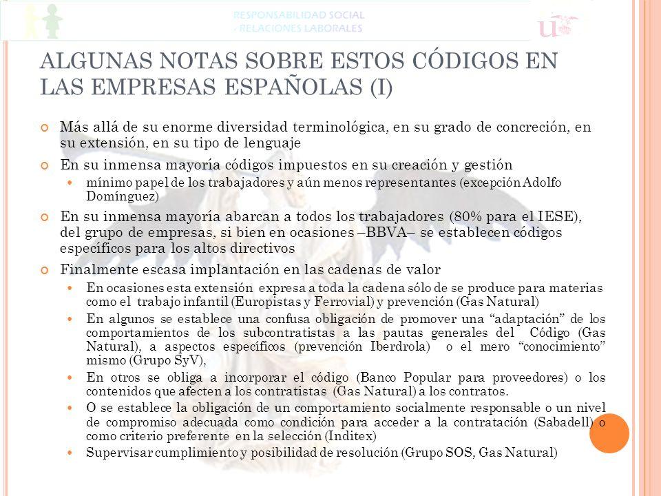ALGUNAS NOTAS SOBRE ESTOS CÓDIGOS EN LAS EMPRESAS ESPAÑOLAS (I)
