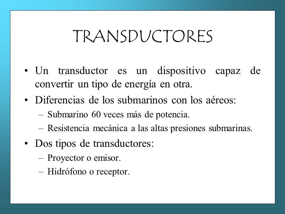 TRANSDUCTORES Un transductor es un dispositivo capaz de convertir un tipo de energía en otra. Diferencias de los submarinos con los aéreos: