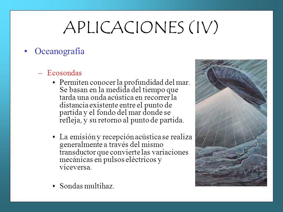 APLICACIONES (IV) Oceanografía Ecosondas