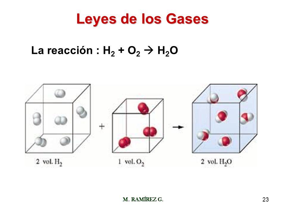 Leyes de los Gases La reacción : H2 + O2  H2O M. RAMÍREZ G.