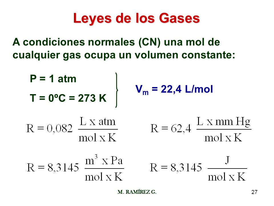 Leyes de los GasesA condiciones normales (CN) una mol de cualquier gas ocupa un volumen constante: P = 1 atm.