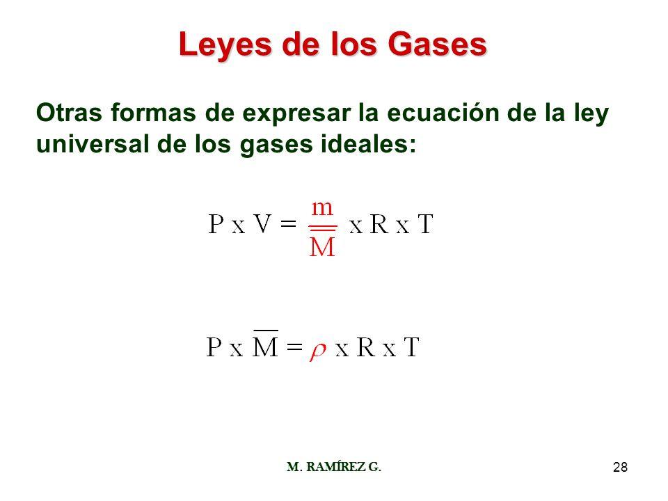 Leyes de los Gases Otras formas de expresar la ecuación de la ley universal de los gases ideales: M.