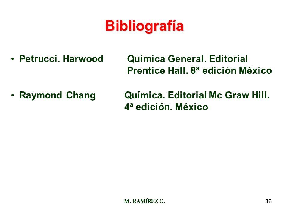 Bibliografía Petrucci. Harwood Química General. Editorial Prentice Hall. 8ª edición México.