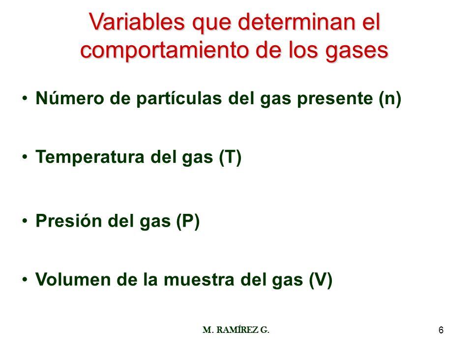 Variables que determinan el comportamiento de los gases
