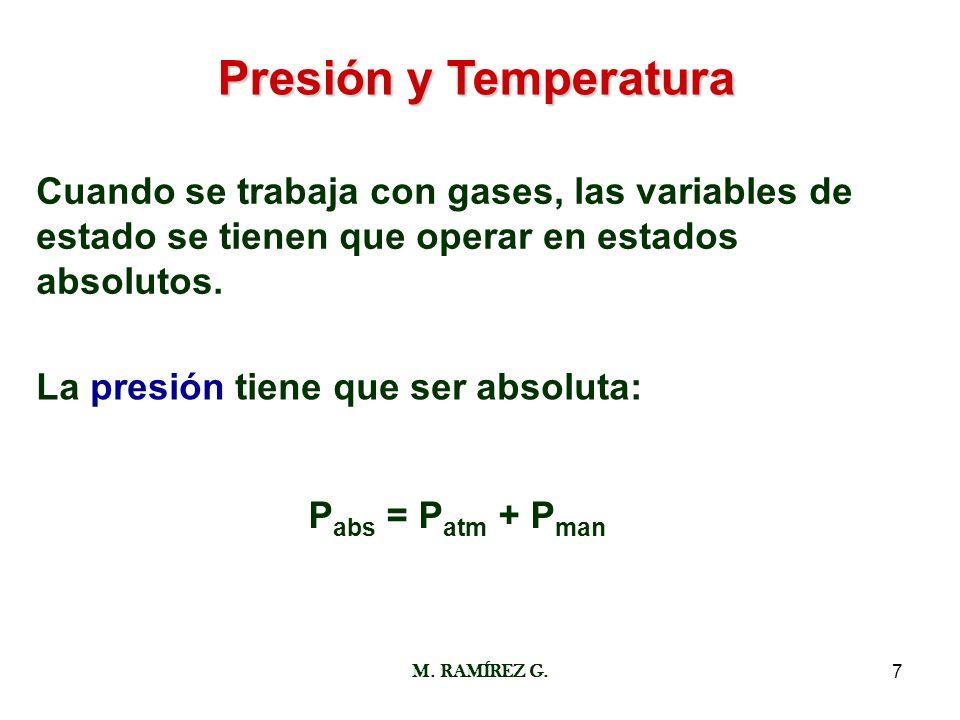 Presión y Temperatura Cuando se trabaja con gases, las variables de estado se tienen que operar en estados absolutos.