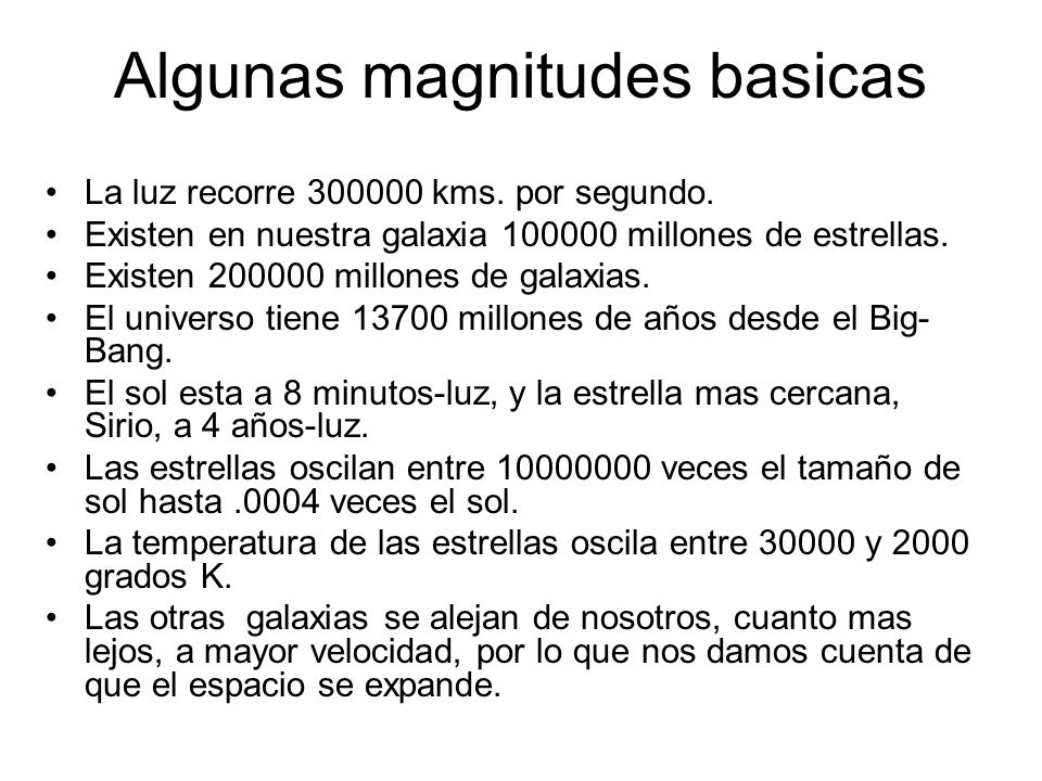 Algunas magnitudes basicas