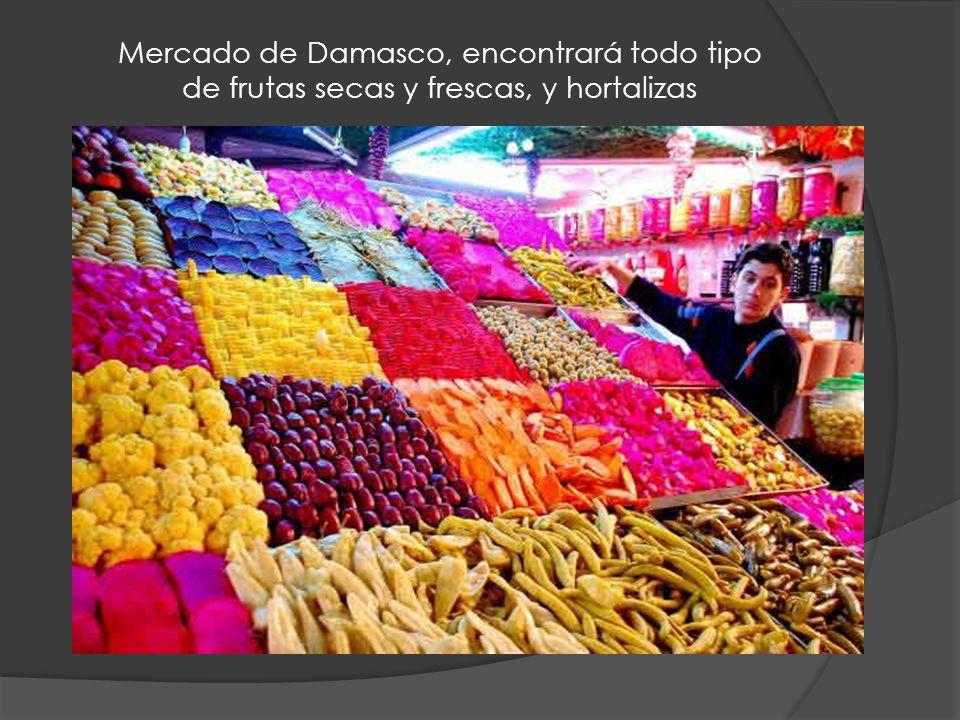 Mercado de Damasco, encontrará todo tipo de frutas secas y frescas, y hortalizas