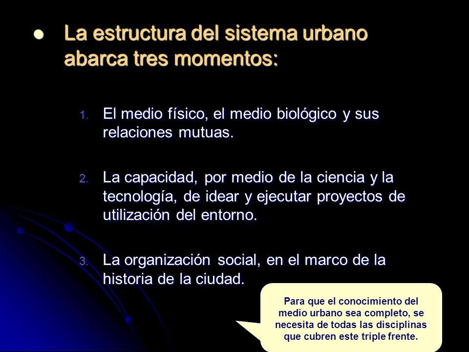 La estructura del sistema urbano abarca tres momentos: