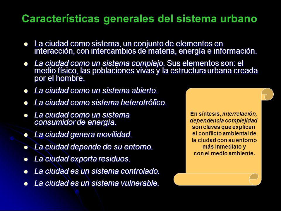 Características generales del sistema urbano