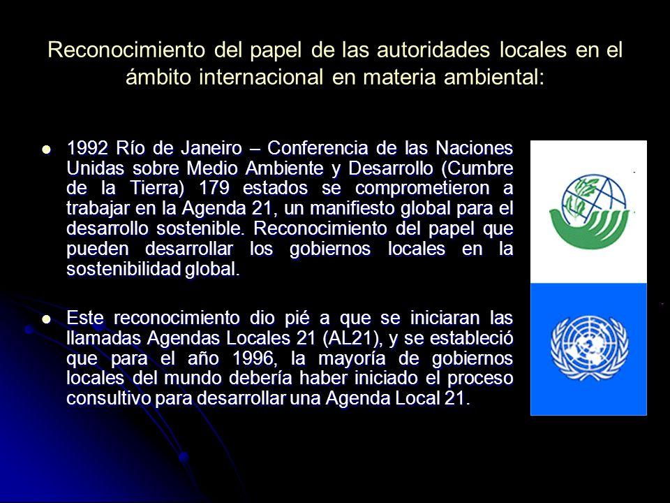 Reconocimiento del papel de las autoridades locales en el ámbito internacional en materia ambiental: