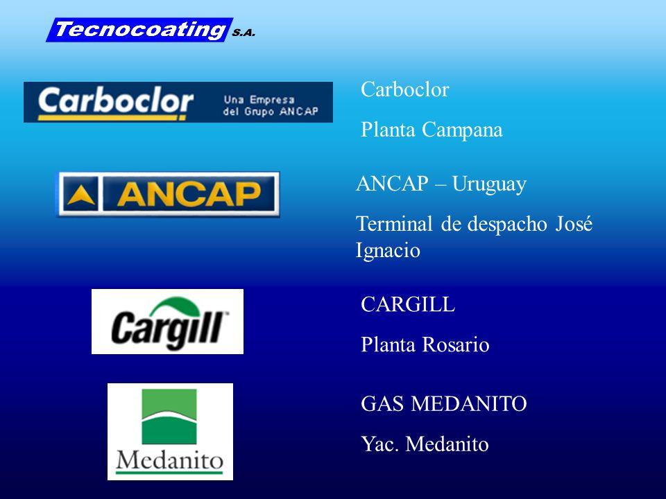 Carboclor Planta Campana. ANCAP – Uruguay. Terminal de despacho José Ignacio. CARGILL. Planta Rosario.