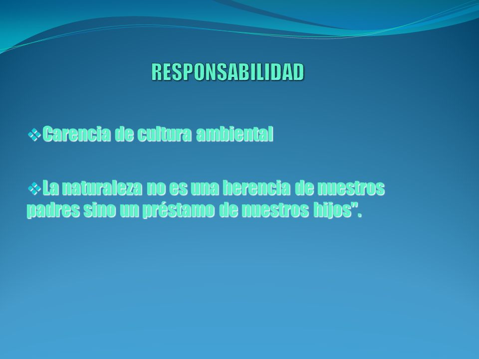 RESPONSABILIDAD Carencia de cultura ambiental