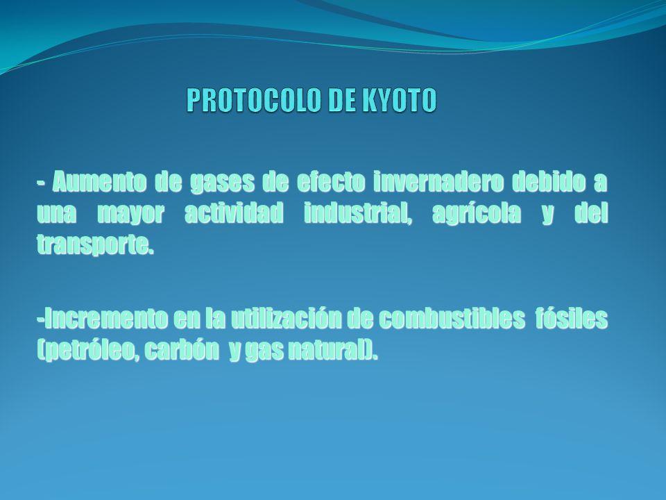 PROTOCOLO DE KYOTO - Aumento de gases de efecto invernadero debido a una mayor actividad industrial, agrícola y del transporte.