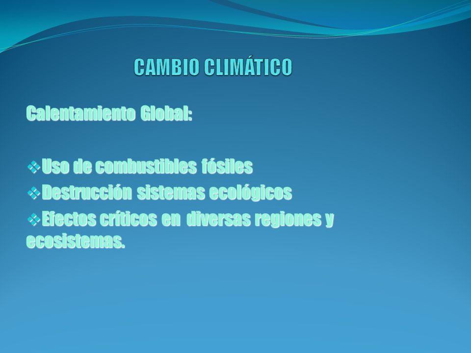 CAMBIO CLIMÁTICO Calentamiento Global: Uso de combustibles fósiles