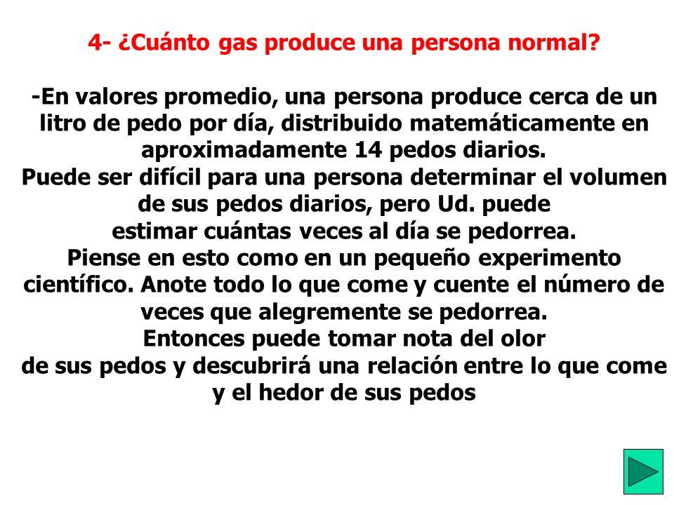 4- ¿Cuánto gas produce una persona normal