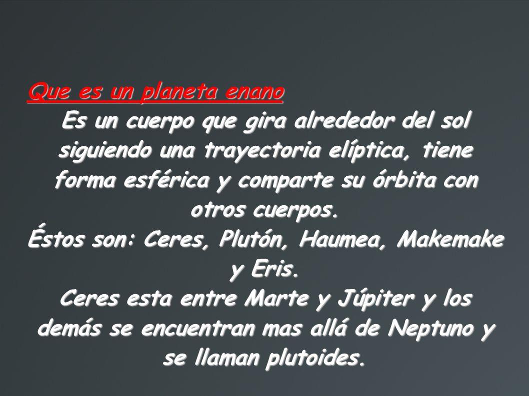 Éstos son: Ceres, Plutón, Haumea, Makemake y Eris.