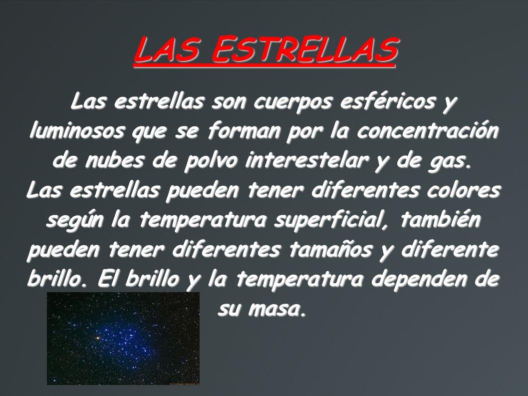 LAS ESTRELLAS Las estrellas son cuerpos esféricos y luminosos que se forman por la concentración de nubes de polvo interestelar y de gas.