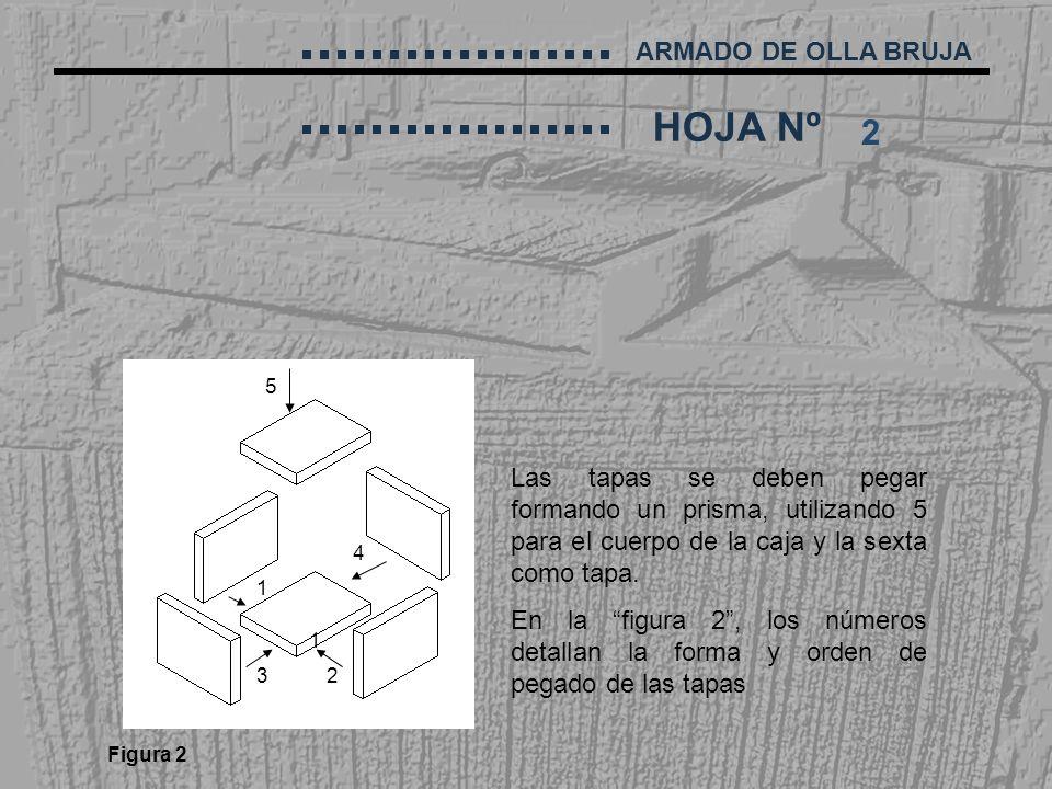 2 5. Las tapas se deben pegar formando un prisma, utilizando 5 para el cuerpo de la caja y la sexta como tapa.