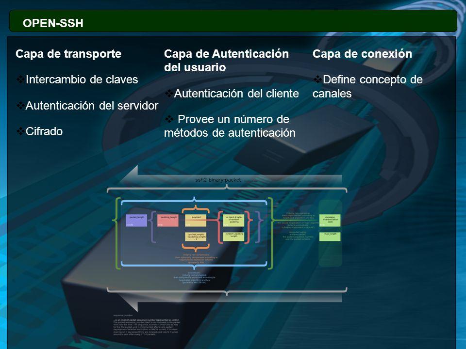 OPEN-SSH 77. Capa de transporte. Capa de Autenticación del usuario. Capa de conexión. Intercambio de claves.