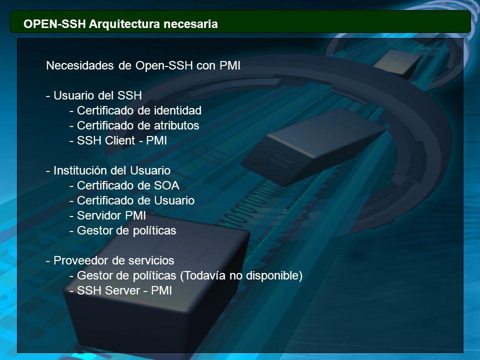 88 OPEN-SSH Arquitectura necesaria. Necesidades de Open-SSH con PMI. - Usuario del SSH. - Certificado de identidad.