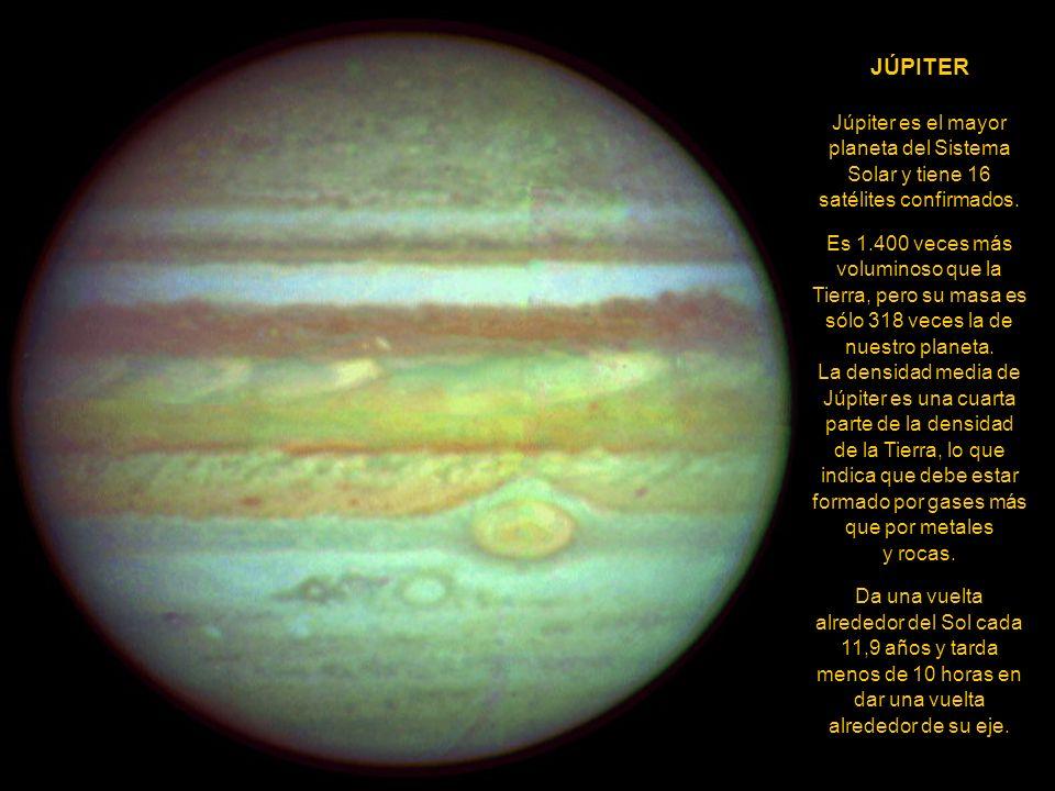 JÚPITER Júpiter es el mayor planeta del Sistema Solar y tiene 16 satélites confirmados.
