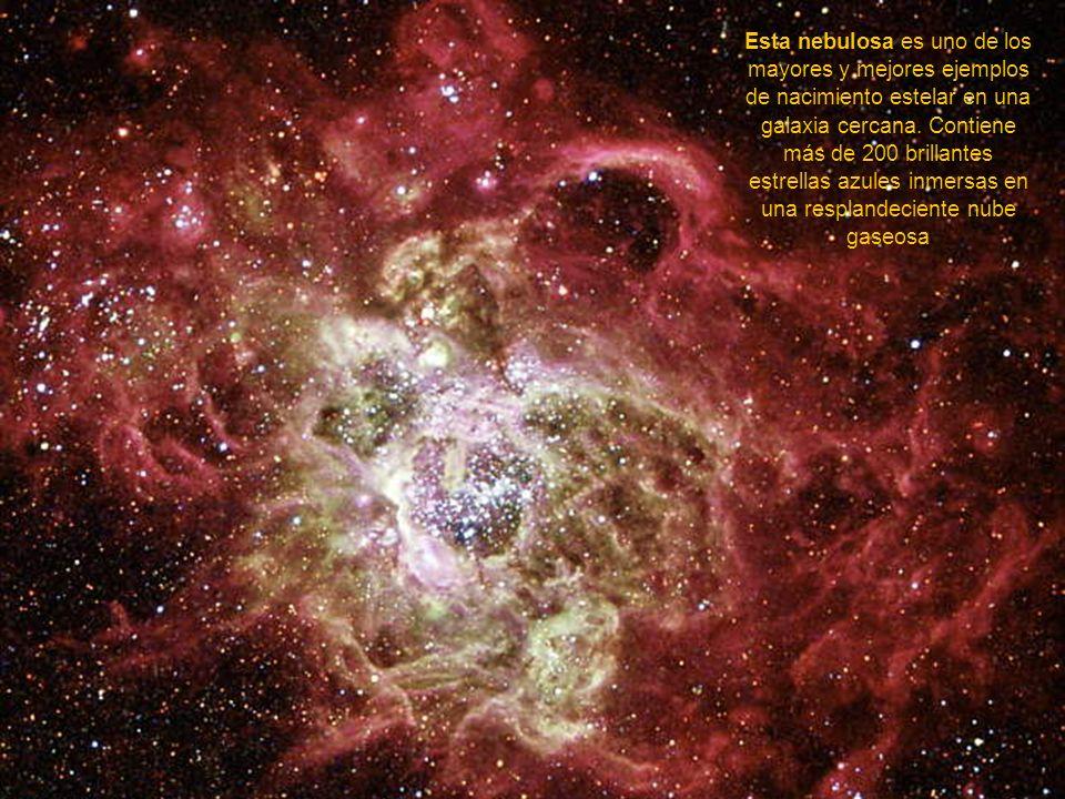 Esta nebulosa es uno de los mayores y mejores ejemplos de nacimiento estelar en una galaxia cercana.