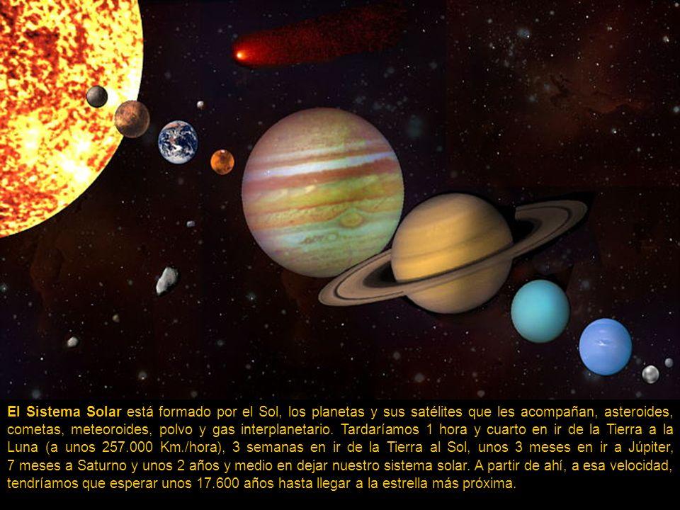 El Sistema Solar está formado por el Sol, los planetas y sus satélites que les acompañan, asteroides, cometas, meteoroides, polvo y gas interplanetario.