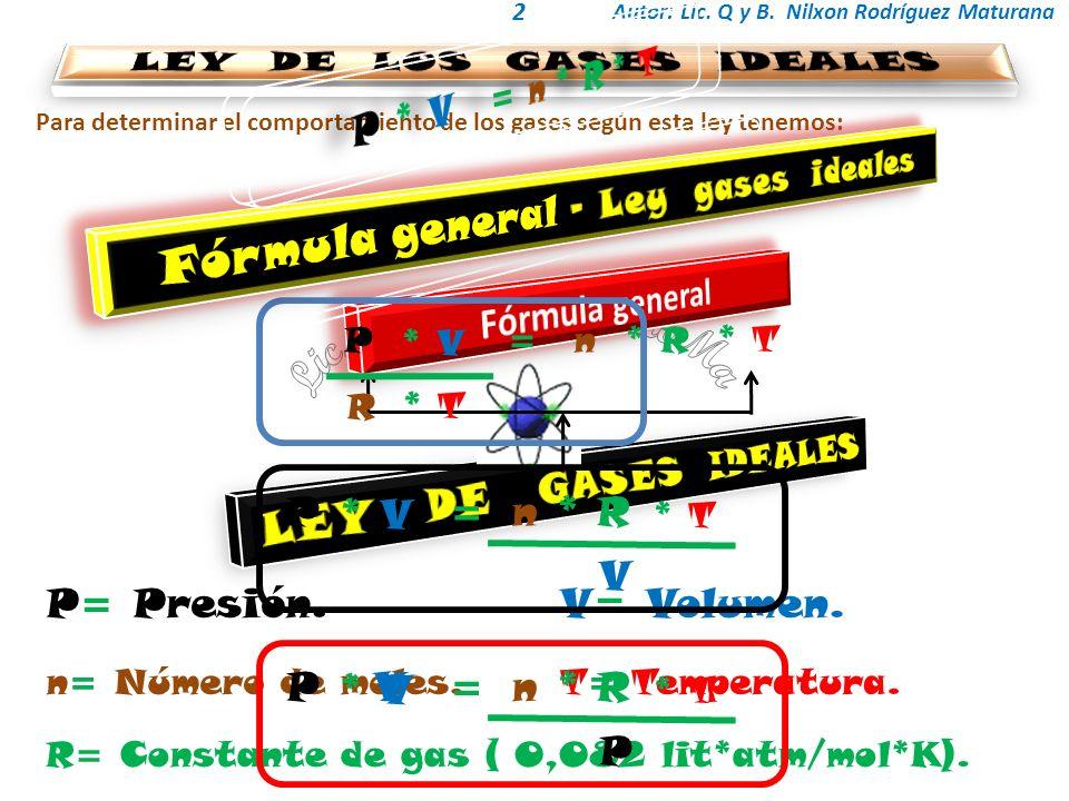 LEY DE LOS GASES IDEALES Fórmula general – Ley gases ideales
