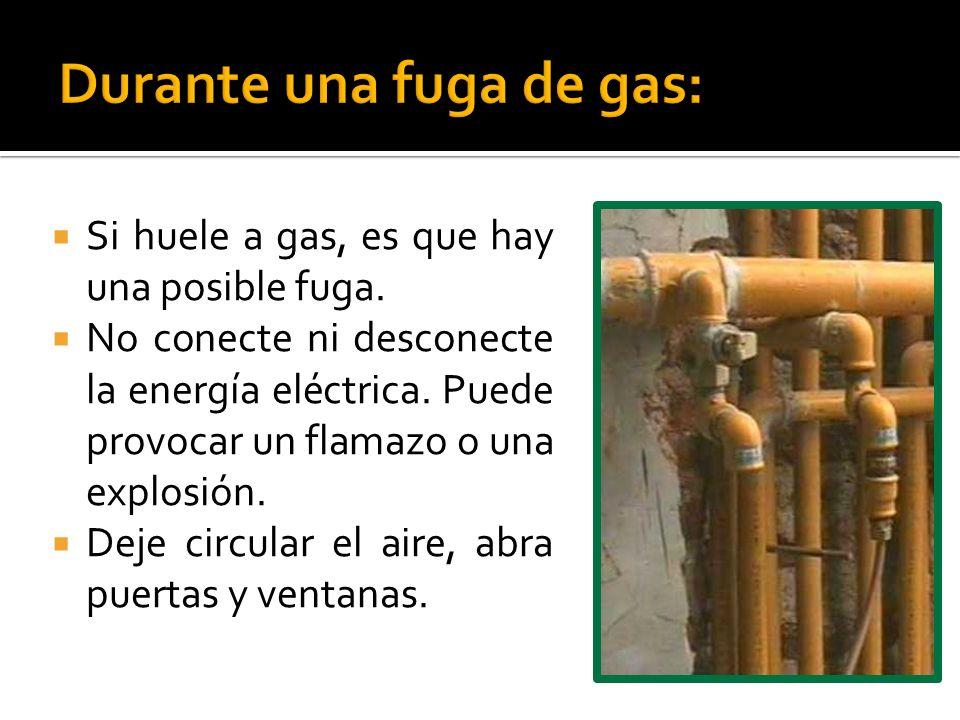 Durante una fuga de gas: