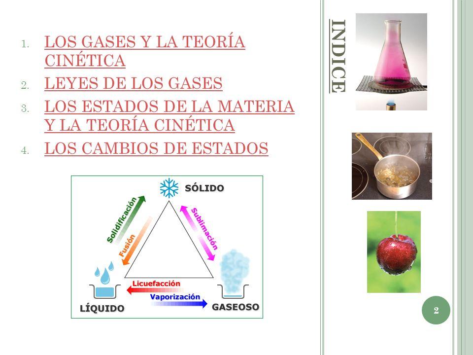 INDICE LOS GASES Y LA TEORÍA CINÉTICA LEYES DE LOS GASES