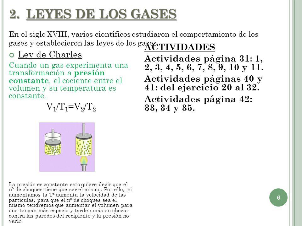 LEYES DE LOS GASES En el siglo XVIII, varios científicos estudiaron el comportamiento de los gases y establecieron las leyes de los gases.