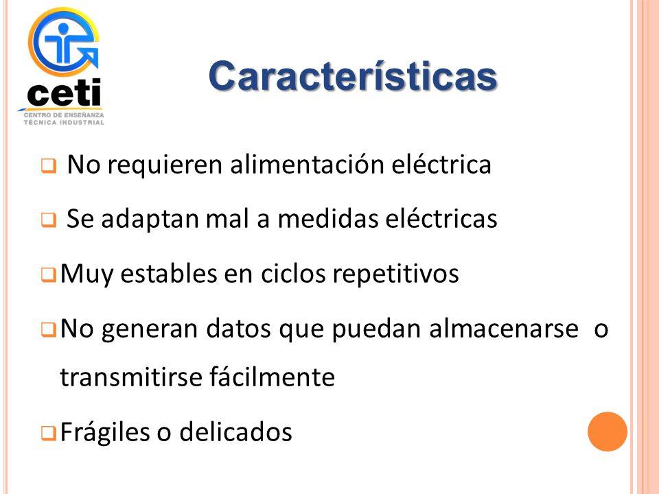 Características No requieren alimentación eléctrica