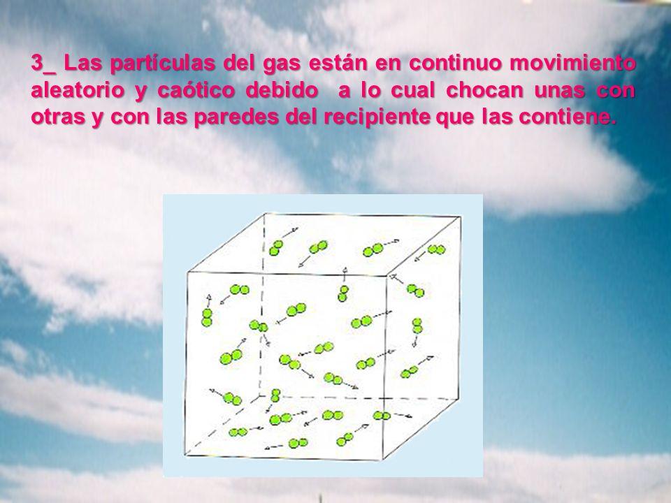 3_ Las partículas del gas están en continuo movimiento aleatorio y caótico debido a lo cual chocan unas con otras y con las paredes del recipiente que las contiene.