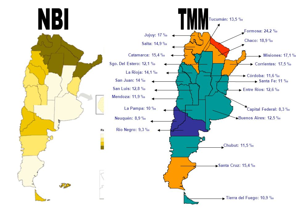 NBI TMM Capital Federal: 8,3 ‰ Buenos Aires: 12,5 ‰ Catamarca: 15,4 ‰