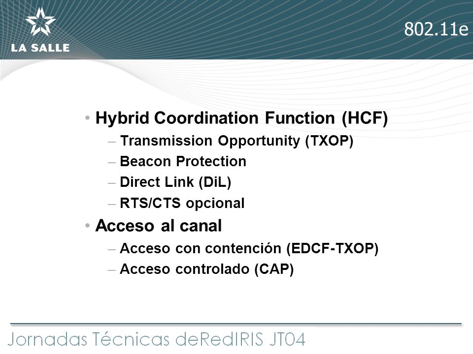 802.11e Hybrid Coordination Function (HCF) Acceso al canal