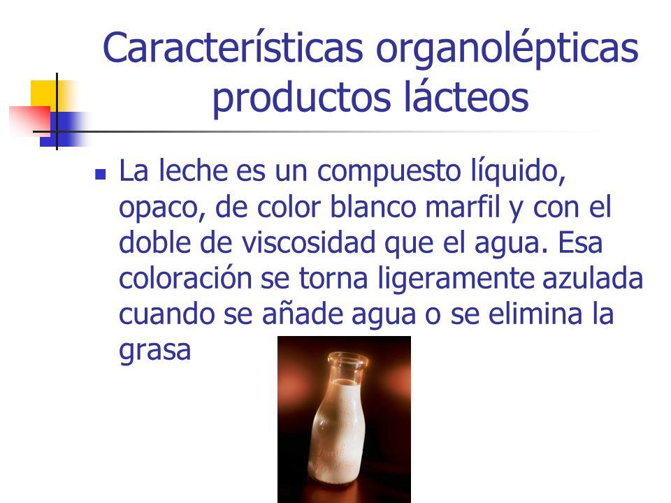 Características organolépticas productos lácteos