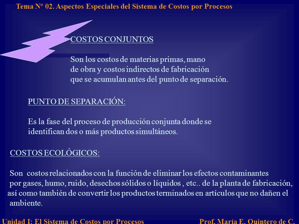 COSTOS ECOLÓGICOS: COSTOS CONJUNTOS
